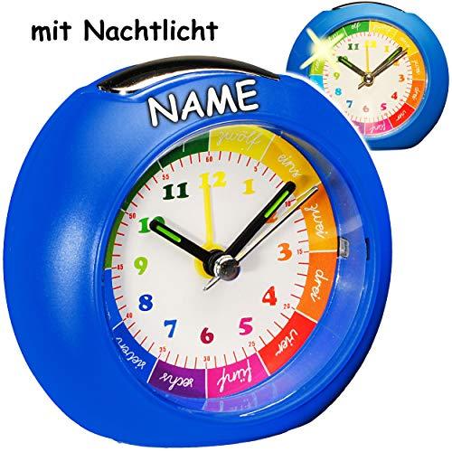 alles-meine.de GmbH LED Licht - Kinderwecker / Lernuhr - Analog -  blau  - inkl. Name - Lernwecker - + -1 Minuten Schritten Anzeiger - Lichtwecker - Lernzifferblatt - für Kinde..