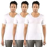 SOLO Men's Versatile White Cotton Round Neck Fine Vest with Half Sleeves