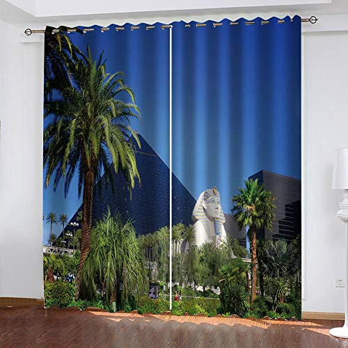 Awooaceo Blackout Curtains 2 Panels Set Thermal Insulated Golden Sphinx Landscape Window Treatment Eyelet Darkening Curtain For Living Room Bedroom Nursery 2 160(W) X130(H) Cm -Bathroom Curtains