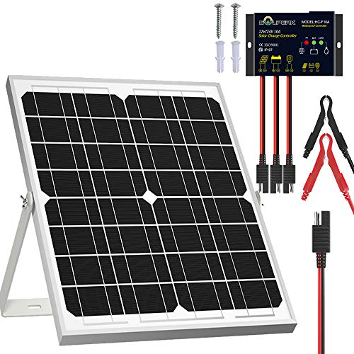 SOLPERK Solar Panel Kit 20W 12V, Solar Battery Trickle Charger Maintainer + Upgrade Waterproof Controller + Adjustable Mount Bracket for Boat Car RV Motorcycle Marine Automotive