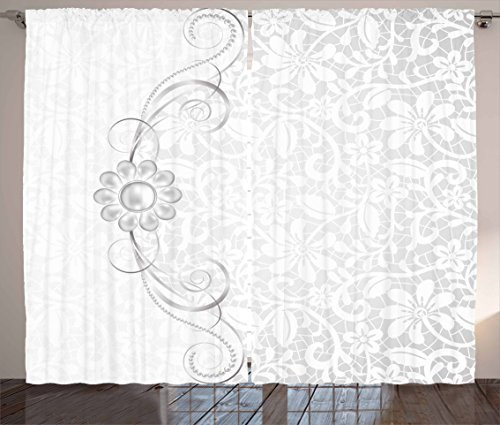 """Ambesonne Grey Curtains, Lace Inspired Flourish Motifs Background with Bridal Flower Border Wedding Pattern, Living Room Bedroom Window Drapes 2 Panel Set, 108"""" X 84"""", Silver White"""