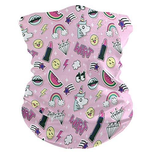 LIUBT Bandana Gesichtsmaske Staubschutz Outdoor Sport Kopftuch Sonne UV Motorrad Pink Mädchen Einhorn Lippenstifte Regenbogen Muster Gesicht Schal für Damen Herren