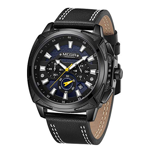 MEGIR Herren Uhr Chronograph Analogue Quartz Sport Schwarz Zifferblatt Armbanduhr mit Leder Band M2128