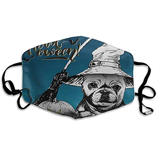 FANCYDAY Mond Maskers, Multifunctionele Maskers Halloween Franse Bulldog Hond Het dragen van de Heks Hoed Bezem En Pompoen Lantaarns Versierde Lettering