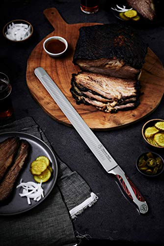 Hammer Stahl 14-Inch Carving Knife, X50CrMoV15 Forged German High Carbon Steel Meat Knife with Quad-Tang Pakkawood Handle - Perfect Brisket Slicing Knife