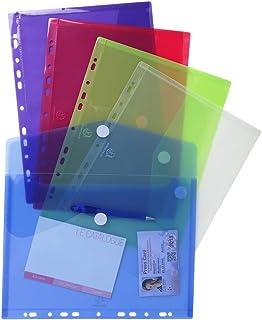 Exacompta - Réf. 57380E - Sachet de 5 pochettes-enveloppes perforées polypropylène - fermeture velcro - A4 - Couleurs asso...