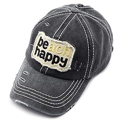 C.C Exclusives Hatsandscarf Washed Distressed Cotton Denim Ponytail Hat Adjustable Baseball Cap (BT-761)
