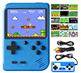 DEIKAL Handheld Game Console, Retro Game Console with 500 Classic FC Games 3 Inch Screen 1020mAh Rechargeable Battery Portable Game Console Support TV Connection & 2 Players for Kids Adults (Blue)
