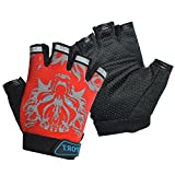 Kids Cycling Gloves, Freehawk Non-Slip Ultrathin Children Half Finger Bicycle Cycling Breathable Gloves Roller-Skating Gloves for Fishing, Cycling, Roller Skating and Climbing in Summer (Red1)