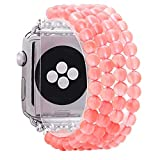 KAI Top Fashion Watch Band Compatible with Apple Watch 42mm 44mm for Women Girls, Quartz Beaded Elastic Band Replacement Stretch Strap Compatible for iWatch Series SE & Series 6 5 4 3 2 1