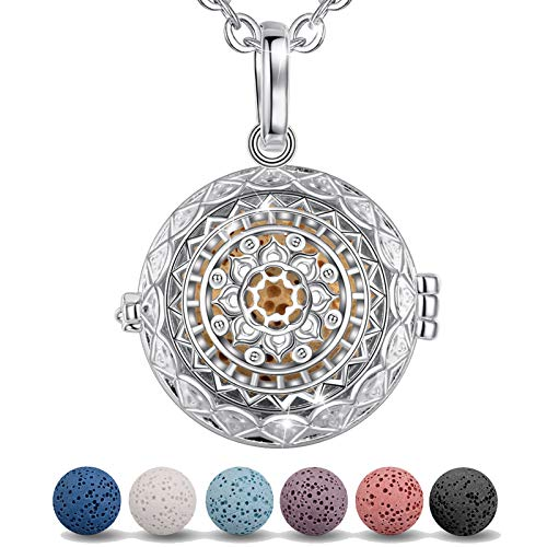 INFUSEU Essential Oil Necklace Diffuser, Lotus Flower silver Plated Aromatherapy Locket Anxiety Connect Pendant with 5 PCS Lava Ball Beads and 24' Link Chain Gift for Mum