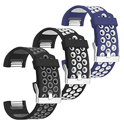 SKYLET Compatible with Fitbit Charge 2 Bands Men Women, 3-Pack Soft Sport Silicone Wristbands with Metal Buckle for Charge 2 Smart Watch Large Small