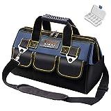 AIRAJ Sac à outils à bouche large,44×21×26cm,Bandoulière réglable,Plusieurs poches,Sac de rangement pour sac à glissière bricolage,Grand sac de rangement pour outils manuel/électrique