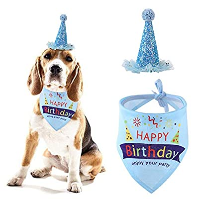 gotyou Pet dog birthday hat, birthday hat scarf set, reusable cat and dog headdress hat, suitable for large and medium-sized cat and dog puppies party clothing accessories, blue