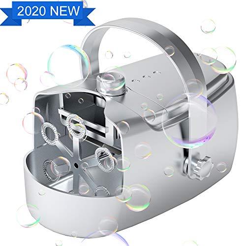 Maquina de Burbujas automatico, Máquinas de Burbujas de Jabón portátil Alimentado por Batería, USB o 5V/2A Powerbank, Máquina de Pompas de Jabón para Fiestas Bodas Ccumpleaños Exteriores Interiores