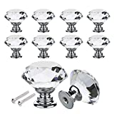 16PCS 30mm Crystal Door Knobs Cupboard Knobs Diamond Pull Handle Zinc Alloy with Screw for Drawer Wardrobe Cabinet Home Decorating