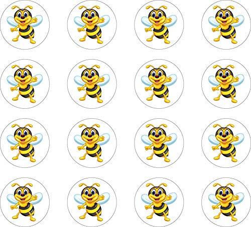 kleberio Aufkleber rund wetterfest Biene 3,3 cm Sticker Auto Motorrad 36 Stück