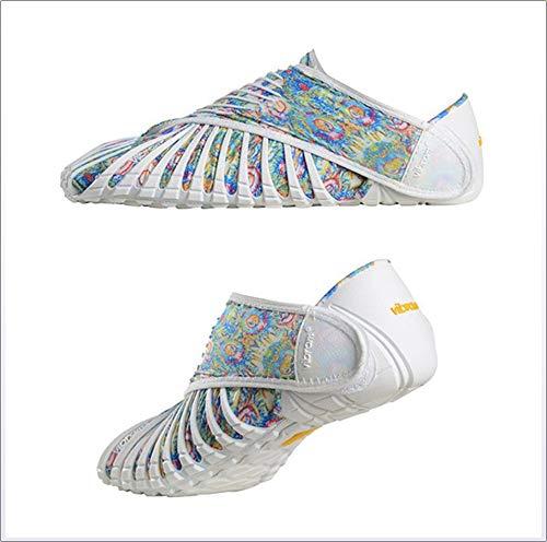 Vibram Furoshiki Phulkari Sneakers, Schuhe mit Wickeln, Schuhe mit fünf Zehen, leichte tragbare Outdoor-Wanderschuhe, Männer und Frauen, Sportschuhe,White,S