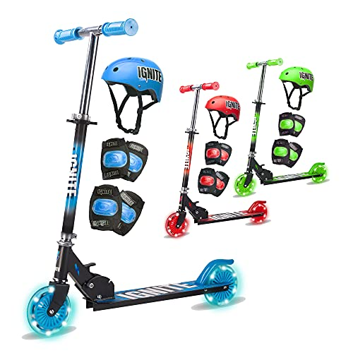 Tango Innovations FLOW | Kids 2 Wheeled Scooter & Safety Pads | LED Light-Up Wheels | Quick Release Folding & Adjustable Handlebar Height | Lightweight Two Wheel Scooter | Helmet, Knee & Elbow Pads