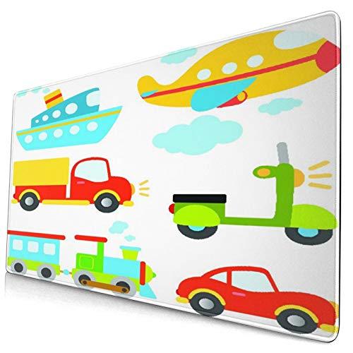 VINISATH Alfombrilla Gaming,Tipos de Transporte Abstractos para niños pequeños Coche Barco Camión Scooter Tren Avión,con Base de Goma Antideslizante,750×400×3mm