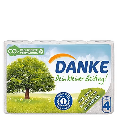DANKE Haushaltstücher Rollen, Küchenrollen 3lagig aus 100% Recycling Papier, 1 x 4 Rollen (4 x 45 Blatt)