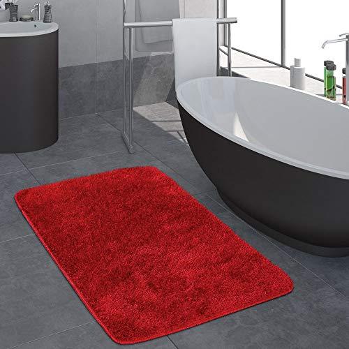 Paco Home Moderner Hochflor Badezimmer Teppich Einfarbig Badematte rutschfest In Rot, Grösse:40x55 cm