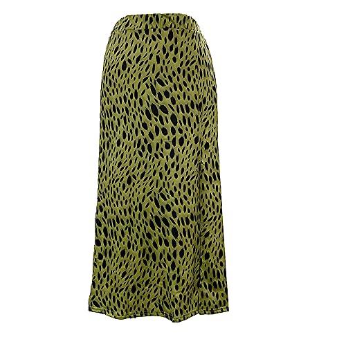 N\P Falda de moda cruzada de la frontera con estampado de leopardo de las mujeres de cintura alta