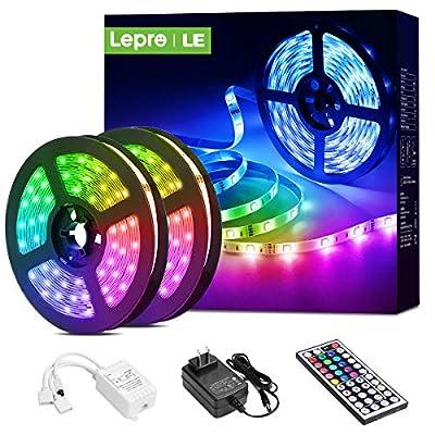 Lepro LED Strip Lights, 32.8ft RGB LED Lights Strip with 44 Keys IR Remote and 12V Power Supply, Flexible Color Changing 5050 300 LEDs Light Strips Kit for Bedroom, Home, Kitchen(2X16.4FT?