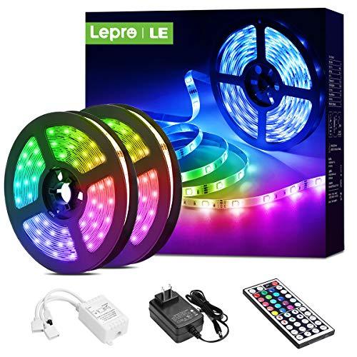 Lepro LED Strip Lights, 32.8ft LED Lights Strip with 44 Keys IR Remote and 12V Power Supply, Flexible Color Changing 5050 300 LEDs Light Strips Kit for Bedroom, Home, Kitchen(2X16.4FT)
