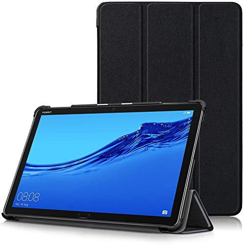TTVie Hülle für Huawei MediaPad M5 Lite 10 - PU Leder Schutzhülle mit Standfunktion & Auto Aufwachen/Schlaf Funktion für Huawei MediaPad M5 Lite Tablet-PC (25,6 cm, 10,1 Zoll), Schwarz