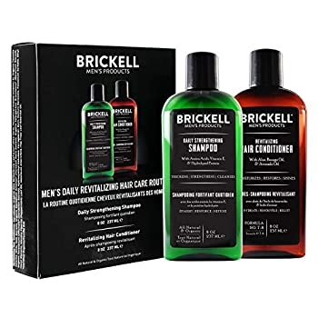 Brickell Men's Daily Revitalizing Hair Care Routine Shampoo and Conditioner Set For Men Mint and Tea Tree Oil Shampoo Strength and Volume Enhancing Conditioner Natural and Organic