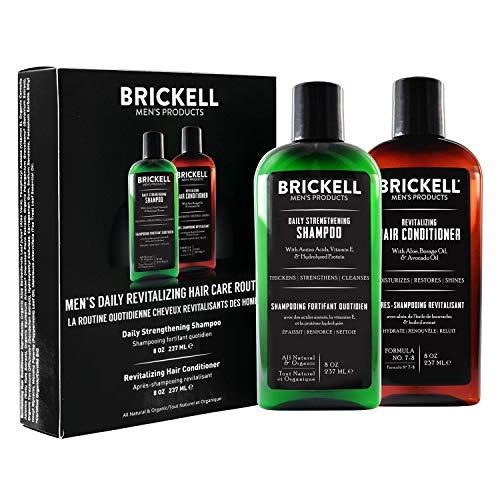 Brickell Men's Daily Revitalizing Hair Care Routine - Shampoo mit Minze und Teebaumöl und Stärkender und Volumenspendender Conditioner - Natürlich und Organisch