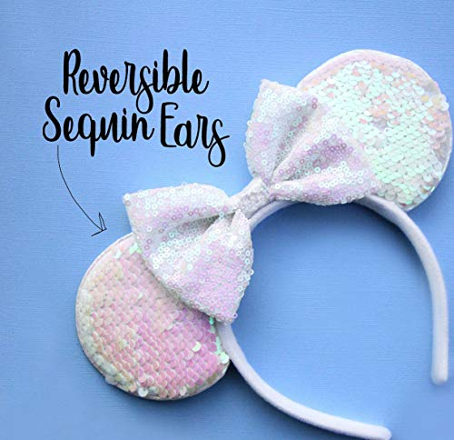 CLGIFT Bride Minnie Ears Headband,bride ears, bride mickey ears,AB white minnie ears, bachelorette party ears, Rainbow Sparkle Mouse Ears,Classic Red Sequin Minnie Ears (,Iridescent white)