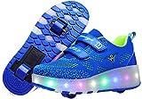 Zapatos con Ruedas Dobles Luminosas para niños con luz LED, para Patinar con Ruedas automáticas retráctiles