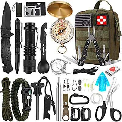 Survival Kit, 32 in 1 Professional Emergency Survival Gear Equipment Tools First Aid Supplies with Molle Pouch Gifts Ideas for Men Families SOS Tactical Hiking Hunting Disaster Camping Adventures…