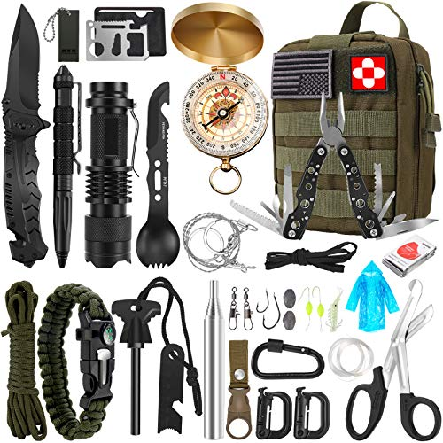 Survival Kit, 32 in 1 Professional Emergency Survival Gear Equipment Tools First Aid Supplies with...