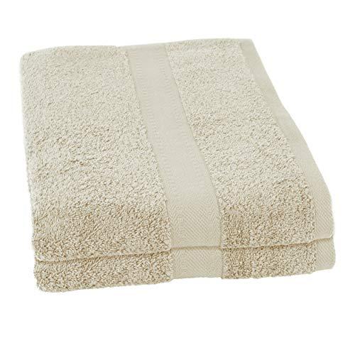 Clarysse Juego de toallas de mano de 2 piezas, toalla de ducha de 70 x 140 cm, 100% algodón peinado, calidad de hotel, fabricado en Bélgica, 500 g/m², set de regalo, color beige