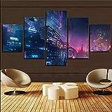5 piezas Cuadro de lienzo- luces de neón futuristas de Cyberpunk City pintura 5 impresiones de imágenes Decoración de pared para el hogar Pinturas y carteles de arte HD 200cmx100cm sin marco