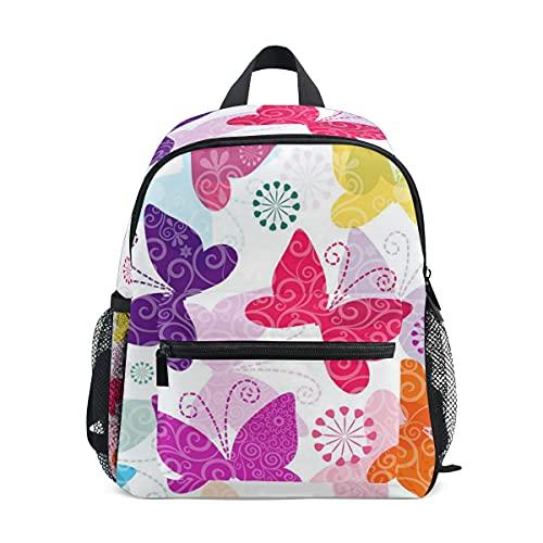 Mini mochila escolar 1 bolso de la universidad para niños niñas colorido impresión mariposa patrón elegante