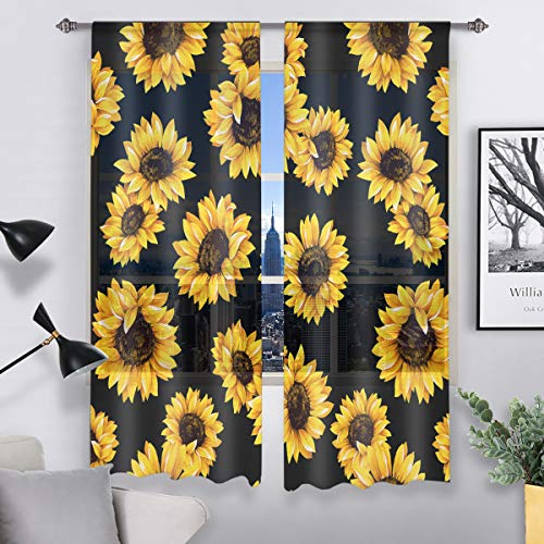 """QH Beautiful Sunflower Black Window Sheer Curtains for Living Room Bedroom Kids Room 55"""" W x 78"""" L (Set of 2 Panels)"""