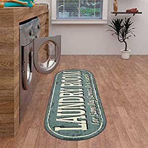 Ottomanson Laundry Collection Area Rug, 20″X59″ Oval, Grayish Blue Design