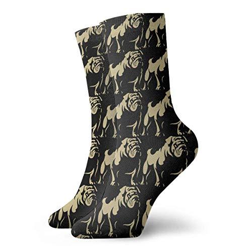 Elsaone Mini English Bulldogs Crew Socke Women und Men Printed Sport Athletic Socken 30cm (11.8inches)