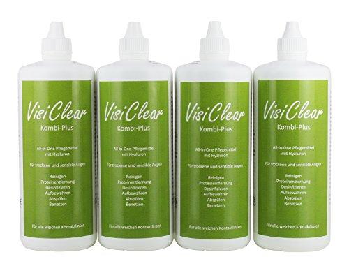 VisiClear Kombi-Plus Kontaktlinsen Flüssigkeit mit Hyaluron für weiche Linsen, 4 x 360 ml