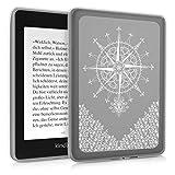 kwmobile Hülle kompatibel mit Amazon Kindle Paperwhite (10. Gen - 2018) - Silikon eReader Cover Case Schutzhülle - Kompass Barock Weiß Transparent