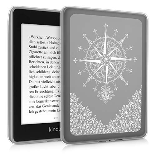 kwmobile Case Compatible with Amazon Kindle Paperwhite (10. Gen - 2018) - TPU Silicone eBook Cover - Baroque Compass White Transparent