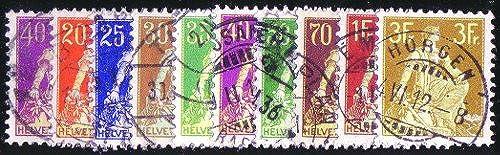 Goldhahn SchWeiß Nr.101-110x gestempelt Sitzende Helvetia 1908  Briefmarken für Sammler