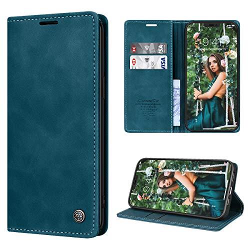 RuiPower Funda para iPhone 12 Pro MAX con Tapa Funda para iPhone 12 Pro MAX Libro Fundas de Cuero PU Premium Magnético Tarjetero y Suporte Silicona Carcasa para iPhone 12 Pro MAX (6.7'') - Azul-Verde