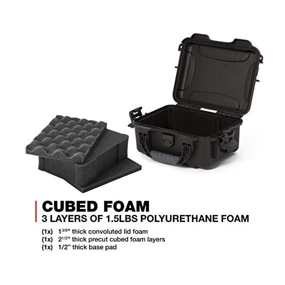 """Nanuk 904 waterproof hard case with foam insert - black 5 interior dimensions l8. 4"""" x w6. 0"""" x h3. 7"""" 