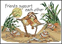 製絲 クロスステッチ 刺しゅうキット ビーチには2羽の鳥がいます 11CT DIY 手作りCross Stitch刺繍 正確な図柄印刷クロスステッチ-40x50cm