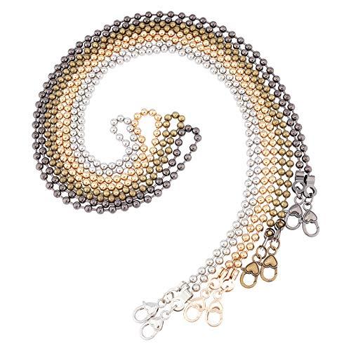 PandaHall 4 piezas de cadena de bolas de hierro de 120 cm, con cierres de aleación de zinc, para accesorios de repuesto, varios colores
